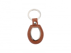 PU Key Chain(Oval, Brown)