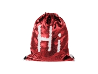 Sequin Drawstring Backpack (Red/White)