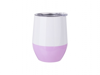 12oz/360ml Stainless Steel Stemless Wine Cup (White&Purple)