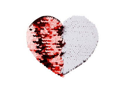 Flip Sequins Adhesive Black Base (Heart, Red W/ White)