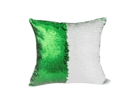 Flip Sequin Pillow Cover (White w/ Green)