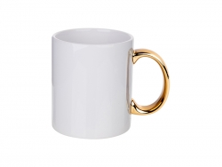 11oz Plated Ceramic Mug (Gold Handle)