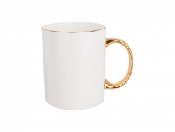 Caneca Bone China Borda e Alça Colorida 11oz/360ml (Dourado)