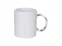 11oz Plated Ceramic Mug (Silver Handle)
