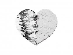 Flip Sequins Adhesive Black Base (Heart, Silver W/ White)