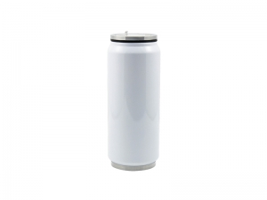 12oz/350ml Stainless Steel Coke Can with Straw (White)