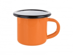 3oz/100ml Enamel Mug (Orange, Black Edge)