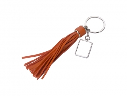 Square Keychain w/ Long Tassel (Orange)