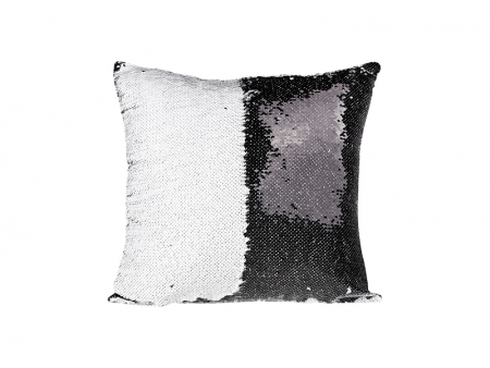Flip Sequin Pillow Cover (Black/white)
