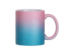 Sublimation 11oz/330ml Gradient Bottom Glitter Mug (Pink+Light Blue)
