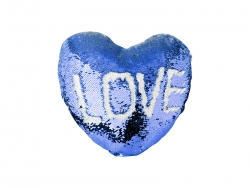 Heart Shaped Sequin Pillow Cover (Dark Blue w/ White, 39*44cm)