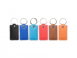 Laser Engraving PU Leather Keychain (Rect,Light Blue)