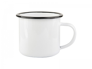 12oz/360ml Enamel Cup with Black Rim