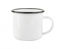 12oz Enamel Cup with Black Rim