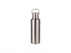 750ml/25oz Portable Bamboo Lid Stainless Steel Bottle (Silver)