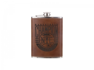 8oz Stainless Steel Flask with PU Cover(Dark Brown)