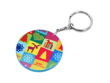 60mm Thick Round Plastic Keychain(Color Edge)