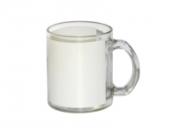 11oz Glass mug - with White Patch