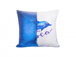 Flip Sequin Pillow Cover (Dark Blue w/ White, 40*40cm)