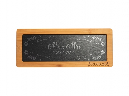 Bamboo Cutting Board w/ Slate Inlay (Rect, 13.8*33.5cm)