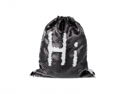 Sequin Drawstring Backpack (Silver/Black, 36*45cm)