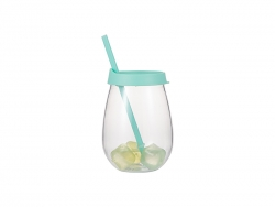 10oz/300ml Clear Plastic Stemless Cup (Light Green, w/ Reusable Ice Cubes)