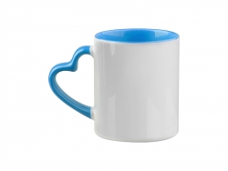 Sublimation 11oz Inner Rim Color Mug with Heart Handle (Light Blue)