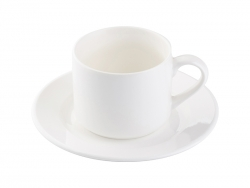 6oz Bone China Coffee Mug w/ Saucer