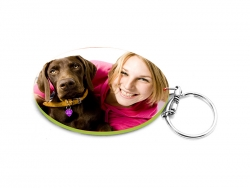 Oval Plastic Keychain 57*82mm(Color Edge)