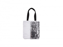 Sequin Double Layer Tote Bag (White/Silver)
