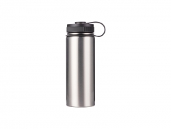 18oz/550ml Stainless Steel Flask w/ Portable Lid (Silver)