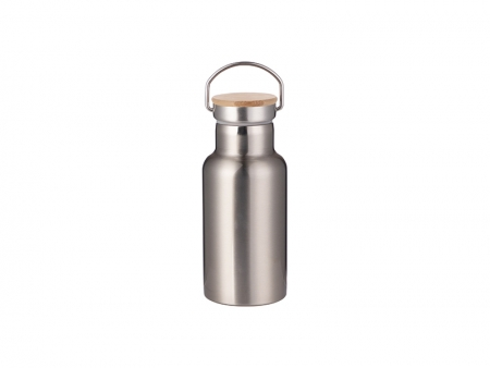 350ml/12oz Portable Bamboo Lid Stainless Steel Bottle (Silver)