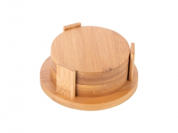 4pcs Round Bamboo Coaster Set (9.5cm)