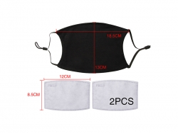 13*17.8cm Full Cotton Face Mask with Filter (Black)