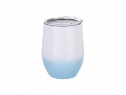 12oz Stainless Steel Stemless Wine Cup with Lid (Gradient Color White&Light Blue)