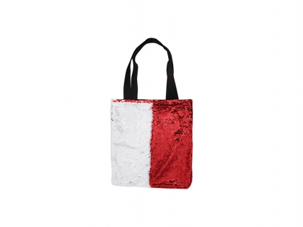 Sequin Double Layer Tote Bag (Red/White)