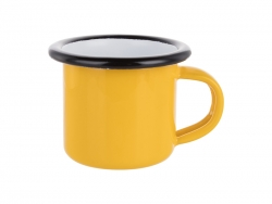 3oz/100ml Enamel Mug (Yellow, Black Edge)