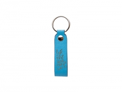 Laser Engraving PU Leather Keychain (Handle,Light Blue)