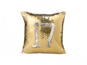 Flip Sequin Pillow Cover (Gold w/ Silver)