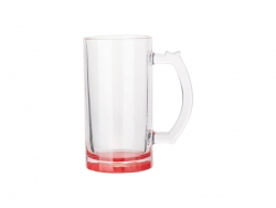 16oz Clear Glass Beer Mug (Red Bottom)