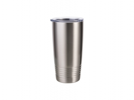 20oz Stainless Steel Tumbler with Ringneck Grip (Silver)