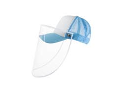 Sublimation Adult Mesh Cap w/ Removable Face Shield (Light Blue)