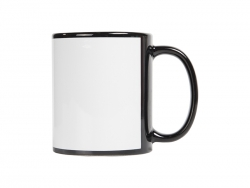 11oz Full Colour Mug with White Patch-Black