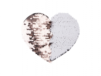 Flip Sequins Adhesive (Heart, Champagne w/ White)