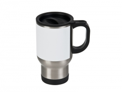 14 oz Stainless Steel Mug with White Patck