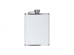 8oz/240ml Stainless Steel Flask with PU Cover (White)