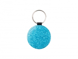 Glitter PU Leather Key Chain (Round, Blue)