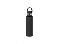 600ml/20oz Portable Bamboo Lid Powder Coated Stainless Steel Bottle (Black)