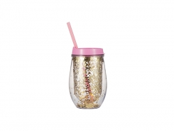 10oz/300ml Double Wall Clear Plastic Stemless Cup (Light Pink, w/ Gold Glitters)