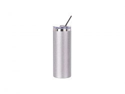 20oz/600ml Glitter Stainless Steel Skinny Tumbler with Straw & Lid (Silver)